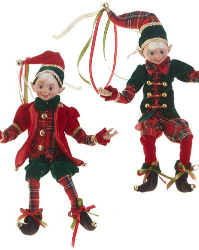 Traditional holiday color outfits on these Christmas elves for holiday decorating.