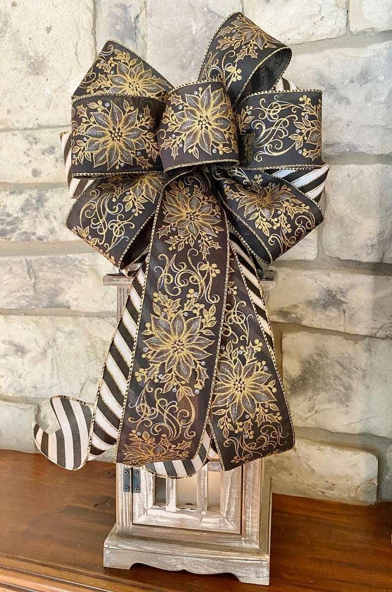 Black & Gold Stripe w/ Poinsettias